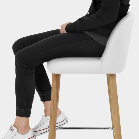Pacific Wooden Stool White Seat Image