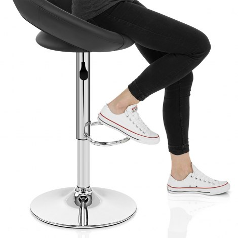 Padded Crescent Bar Stool Black Seat Image