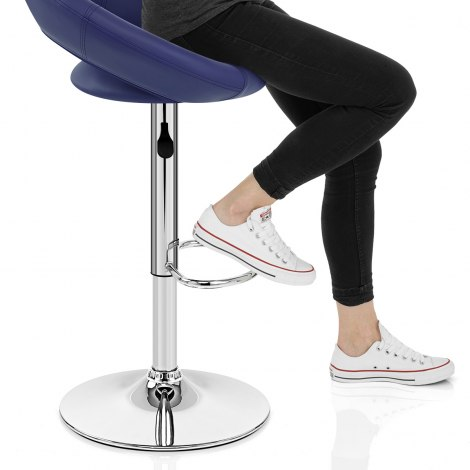 Padded Crescent Bar Stool Blue Seat Image