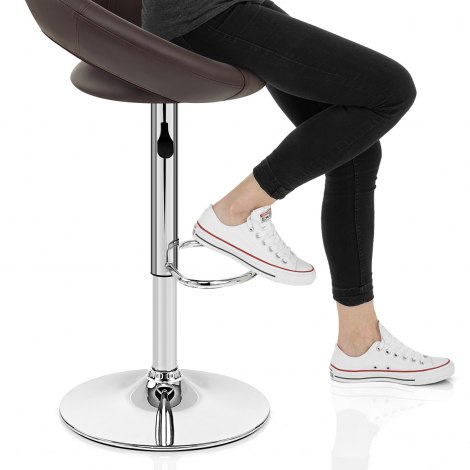 Padded Crescent Bar Stool Brown Seat Image