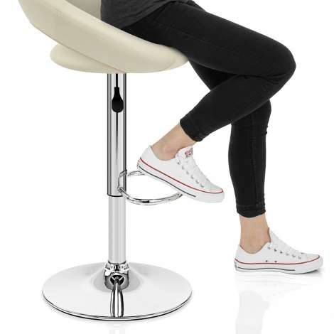 Padded Crescent Bar Stool Cream Seat Image