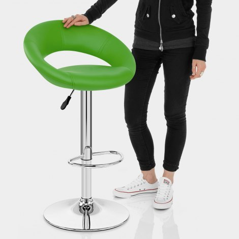 Padded Crescent Bar Stool Green Features Image