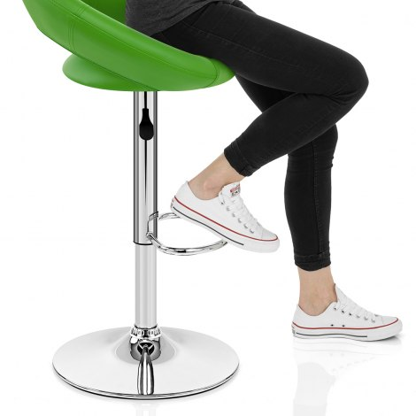 Padded Crescent Bar Stool Green Seat Image