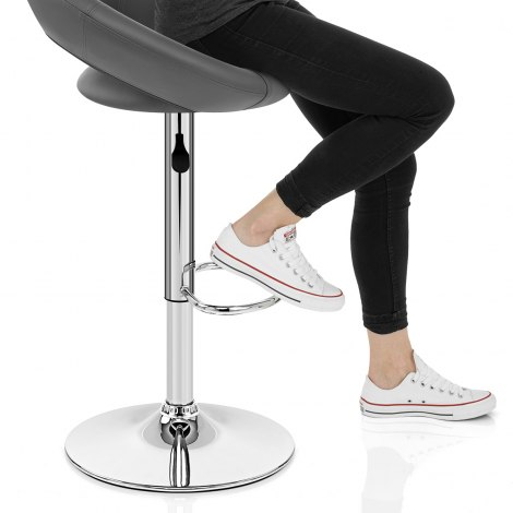 Padded Crescent Bar Stool Grey Seat Image