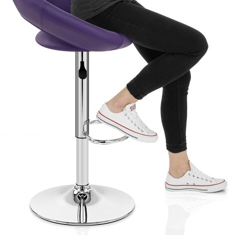 Padded Crescent Bar Stool Purple Seat Image