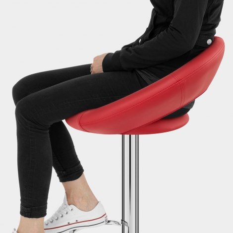 Padded Crescent Bar Stool Red Seat Image