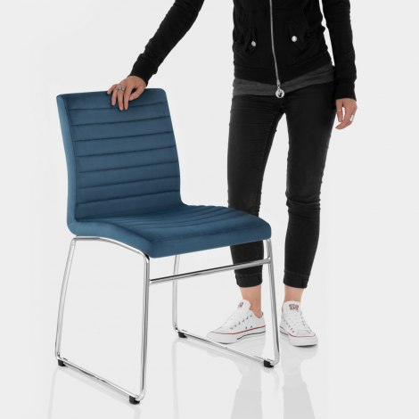 Panache Dining Chair Blue Velvet Features Image