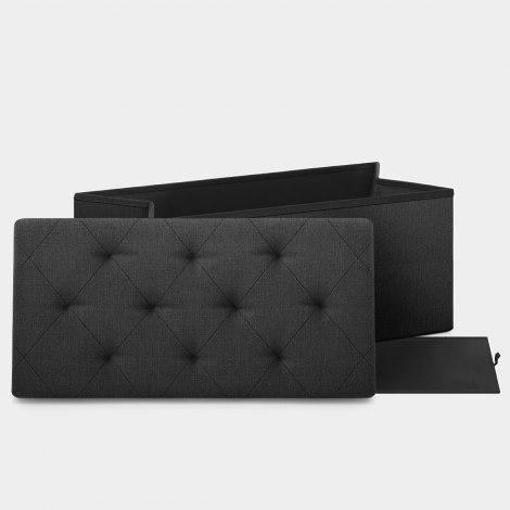 Pandora Foldable Ottoman Black Fabric Features Image