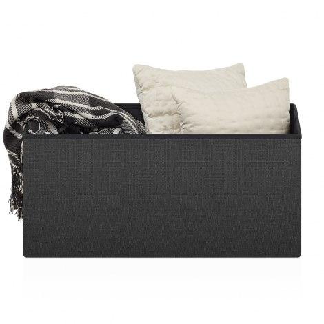 Pandora Foldable Ottoman Black Fabric Seat Image