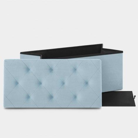 Pandora Foldable Ottoman Blue Velvet Features Image