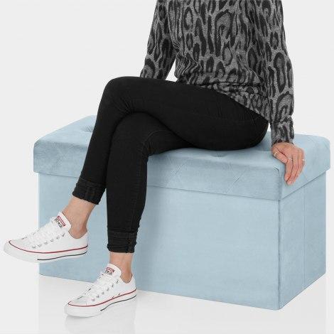 Pandora Foldable Ottoman Blue Velvet Seat Image