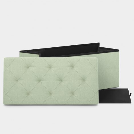 Pandora Foldable Ottoman Green Fabric Features Image