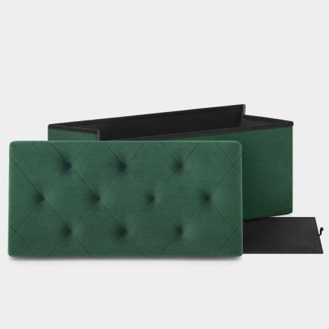 Pandora Foldable Ottoman Green Velvet Features Image