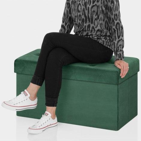 Pandora Foldable Ottoman Green Velvet Seat Image