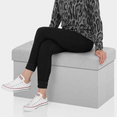 Pandora Foldable Ottoman Grey Fabric Seat Image