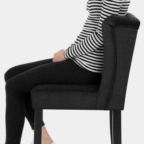 Pemberley Bar Stool Black Velvet Seat Image