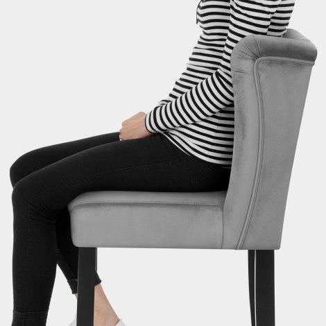 Pemberley Bar Stool Grey Velvet Seat Image