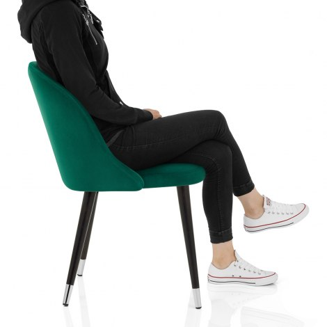 Polo Dining Chair Green Velvet Seat Image
