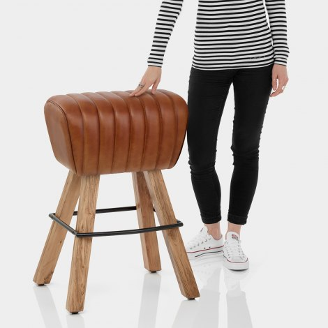 Pommel Stool Antique Brown Leather Features Image