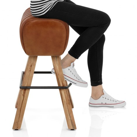 Pommel Stool Antique Brown Leather Seat Image