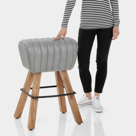 Pommel Stool Antique Grey Leather Features Image