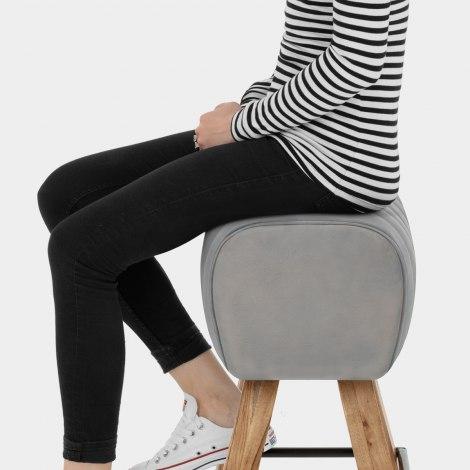 Pommel Stool Antique Grey Leather Seat Image