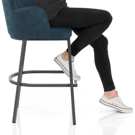 Porter Bar Stool Blue Fabric Seat Image