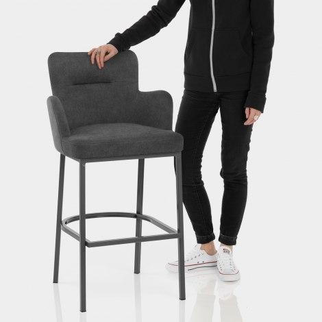 Porter Bar Stool Charcoal Fabric Features Image