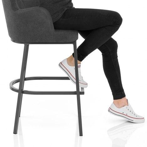 Porter Bar Stool Charcoal Fabric Seat Image