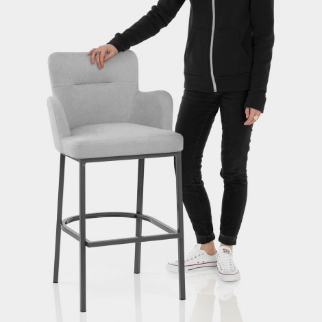 Porter Bar Stool Grey Fabric Features Image