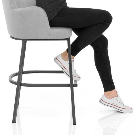 Porter Bar Stool Grey Fabric Frame Image