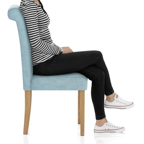 Portland Dining Chair Blue Fabric Seat Image