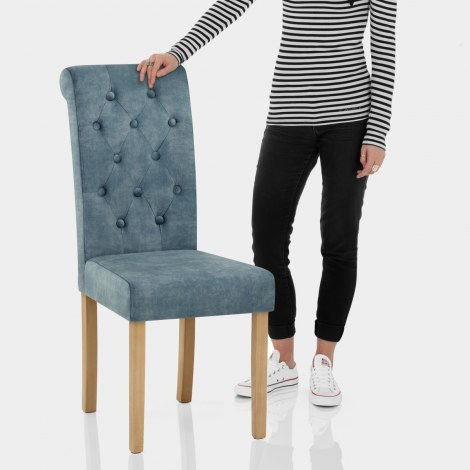 Portland Dining Chair Blue Velvet Features Image