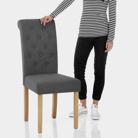 Portland Dining Chair Charcoal Fabric Features Image