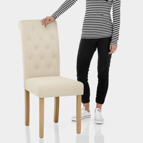 Portland Dining Chair Cream Fabric Features Image