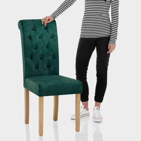 Portland Dining Chair Green Velvet Features Image