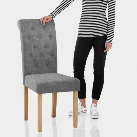 Portland Dining Chair Grey Fabric Features Image