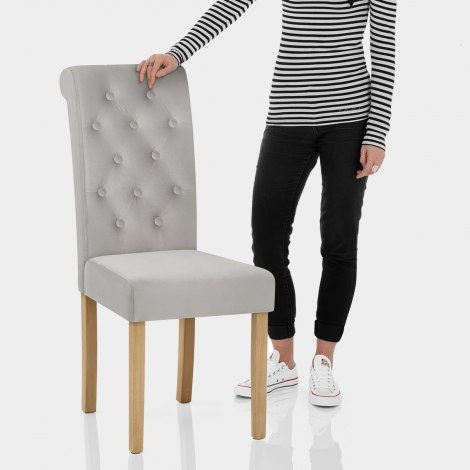 Portland Dining Chair Grey Velvet Features Image