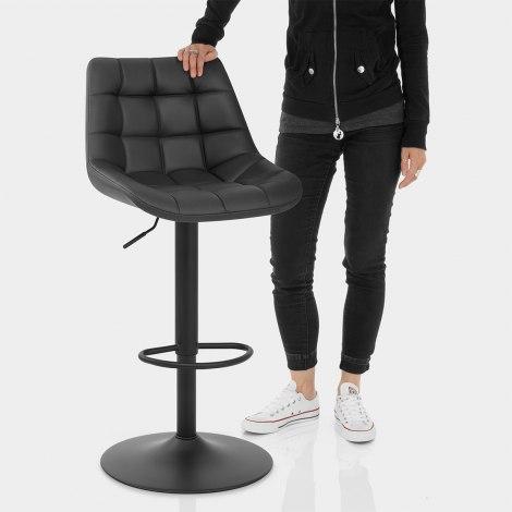 Porto Bar Stool Black Leather Features Image