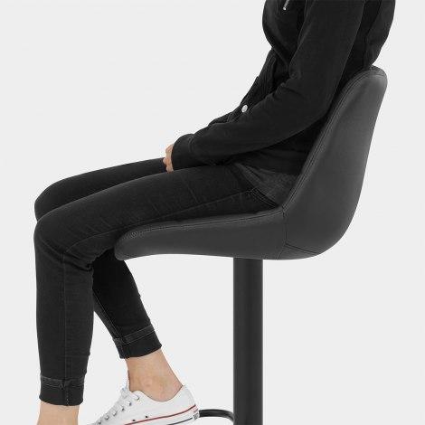 Porto Bar Stool Black Leather Seat Image