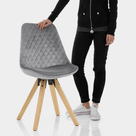 Prism Dining Chair Grey Velvet Features Image