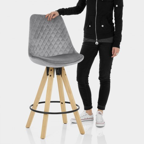 Prism Bar Stool Grey Velvet Features Image
