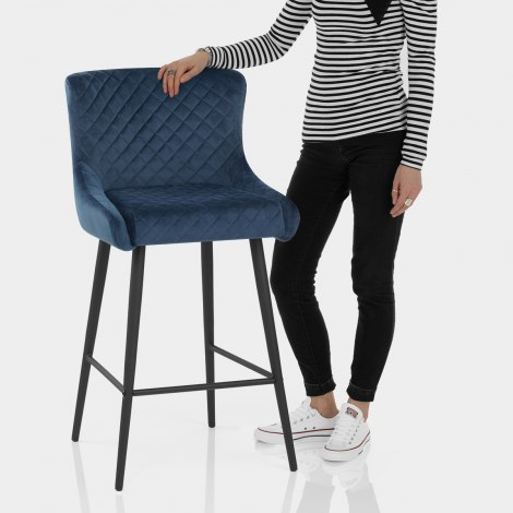 Provence Bar Stool Blue Velvet Features Image