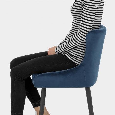Provence Bar Stool Blue Velvet Seat Image