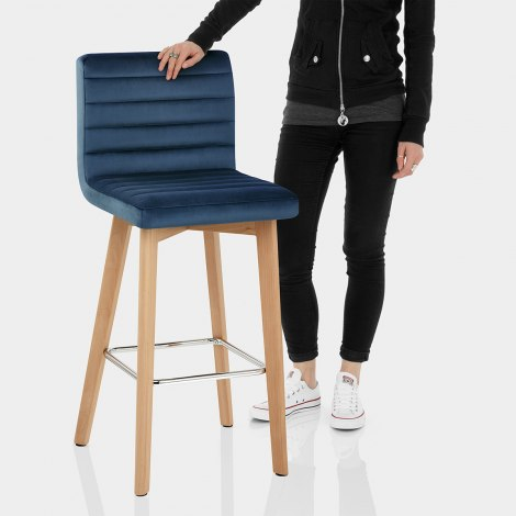 Pure Wooden Stool Blue Velvet Features Image