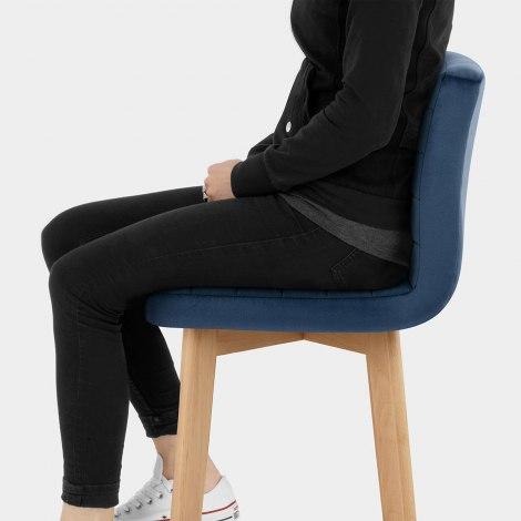 Pure Wooden Stool Blue Velvet Seat Image