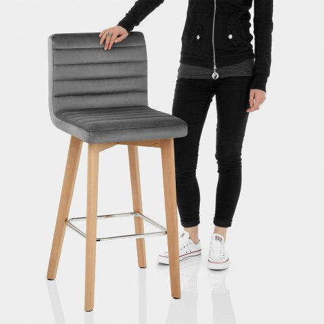 Pure Wooden Stool Grey Velvet Features Image