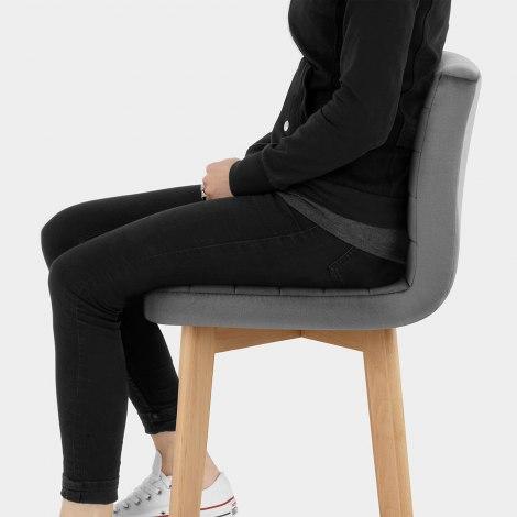 Pure Wooden Stool Grey Velvet Seat Image