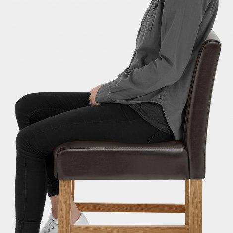 Purnell Oak Stool Brown Seat Image