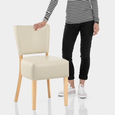 Ramsay Oak Dining Chair Cream Leather Features Image